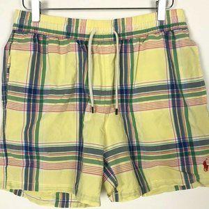 Vintage Polo Ralph Lauren Yellow Plaid Swim Trunks